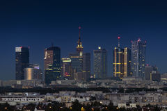 Night panorama of Warsaw city Stock Image