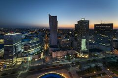 Night panorama of Warsaw downtown. With skyscraper, Poland royalty free stock photo