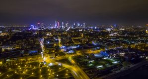 Night panorama of Warsaw from drone. Night panorama of Warsaw from above, downtown, photo from the drone, May 2017, Warsaw, Poland royalty free stock photography