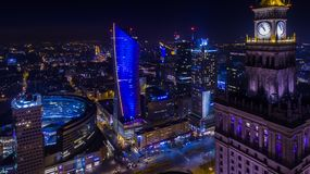 Night panorama of Warsaw froam above. Panorama of Warsaw from above, clock on the tower PKiN, downtown, photo from the drone, November 2016, Warsaw, Poland Royalty Free Stock Photos