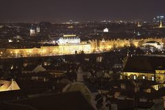 Night panoramatic view on the city centre of the Prague, capitol of the Czech republic Stock Photos
