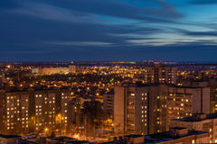 Night panoramic aerial winter cityscape view of living area in Voronezh city Stock Images
