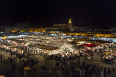 Night panoramic of the Jemaa El Fna square in Marrakech. Stock Photo