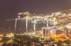 Night panoramic view of Budva old and new town on Adriatic Sea, Royalty Free Stock Images