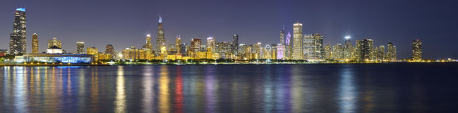 Free Night Panoramic Picture Of Chicago City Skyline With Reflection Stock Image - 81622011