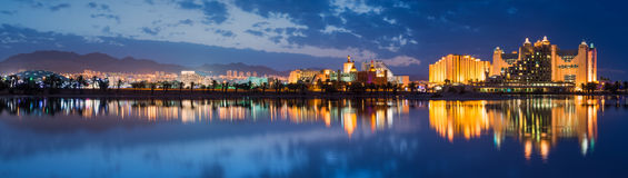 Night panoramic view on the city of Eilat, Israel Stock Images