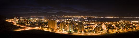 Night panoramic view on Eilat, Israel Stock Image