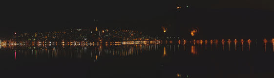 Night panoramic view of Kastoria Royalty Free Stock Images