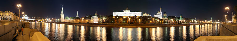 Night panoramic view of the Kremlin, Moscow, Russia--the most popular view of Moscow Royalty Free Stock Photo