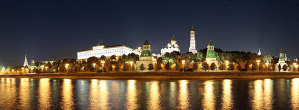 Night panoramic view of the Kremlin, Moscow, Russia--the most popular view of Moscow Royalty Free Stock Photography