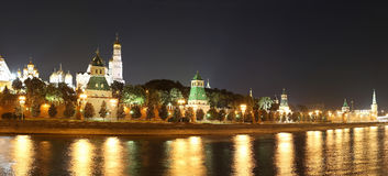 Night panoramic view of the Kremlin, Moscow, Russia--the most popular view of Moscow Royalty Free Stock Photos