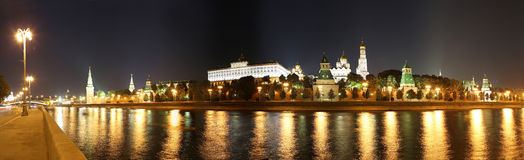 Night panoramic view of the Kremlin, Moscow, Russia--the most popular view of Moscow Stock Images