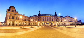 Night panoramic view of the Louvre Museum, Paris Royalty Free Stock Photography