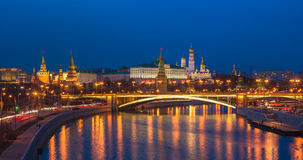 Night panoramic view of Moscow Kremlin, Russia Stock Photography