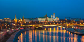 Night panoramic view of Moscow Kremlin, Russia Royalty Free Stock Image