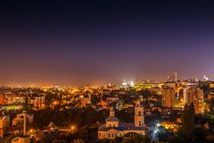 Night panoramic view of the residential center of Voronezh, beautiful night city landscape Royalty Free Stock Image