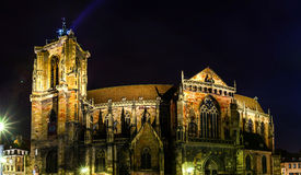Night panoramic view of Sainte Martin cathedral in Colmar Stock Image