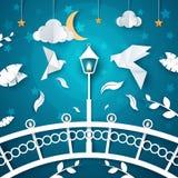 Night paper landscape. Dove, street light, cloud, moon. bridge. vector illustration