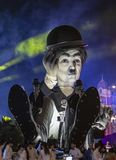 Night Parade - Carnaval de Nice 2019. Nice, France - 16.02.2019: Image of the carnival float of Charlie Chaplin appearing in the night parade- King of Cinema- of royalty free stock photos