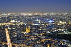 Night Paris from above. Royalty Free Stock Photos