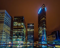 Night Paris building; offices lit employees Stock Images