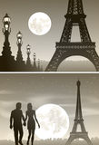 Night Paris and couple in love Stock Photo