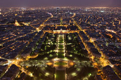 Night of Paris from the Eiffel Tower Royalty Free Stock Photos