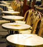 Night Paris France cafe tables chairs Stock Photos