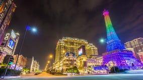 Night paris style macau taipa hotel tower panorama 4k time lapse china stock video footage