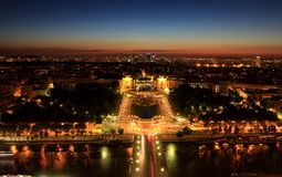 Night in Paris. From the top of the Eiffel Tower Stock Image