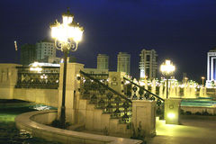 Night park with foot-bridge. Ashkhabad. Turkmenistan Royalty Free Stock Photo
