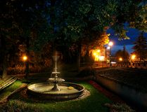 Night park. Park and fountain in Swiecie the Vistula River Stock Photos