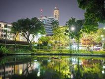 Night park. At grass field Stock Image