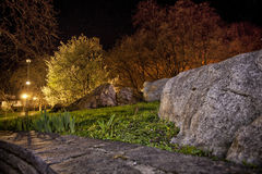 A night in the park. An image of a town park in the night stock image