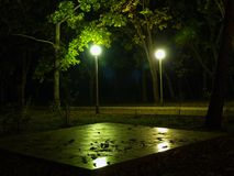 Night park with lights. Rural view with park night light and chess board Royalty Free Stock Images