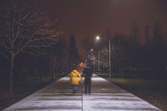 night park with lights royalty free stock photography