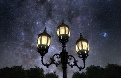 Night in the park. Vintage looking lamp post against beautiful starry sky Royalty Free Stock Photos