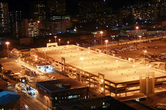 Night parking lot. Night scene of Durban city center parking lot, South Africa,  from a very tall building Stock Images