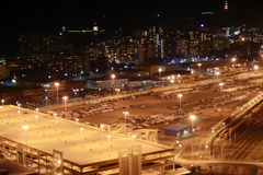 Night parking lot. Night scene of Durban city center parking lot, South Africa,  from a very tall building Royalty Free Stock Photos