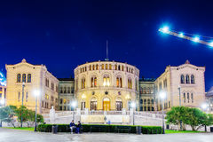Night parliament building at Oslo Royalty Free Stock Photos