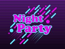 Night party, abstract background in the style of 80`s, with geometric elements, points and dotted lines. Vector illustration Stock Illustration