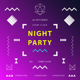 Night party banner or poster template.  Royalty Free Stock Photography
