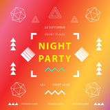 Night party banner or poster template. Square. Memphis elements. Geometric composition. Blurred colorful gradient background. Vect. Night party banner or poster Royalty Free Stock Photography
