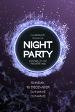 Night Party Dance Poster Background. Event celebration flyer. Futuristic technology style. Royalty Free Stock Photo