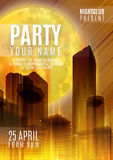 Night Party - Flyer or Cover Design. Background with full moon and night vector urban abstract illustration Stock Photography