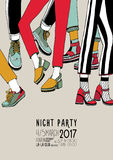 Night party hand drawn colorful poster with dancing legs. Dance, event, festival vector Illustration placard. Royalty Free Stock Images