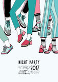 Night party hand drawn colorful poster with dancing legs. Dance, event, festival vector Illustration placard. Royalty Free Stock Photo
