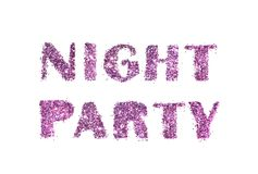 Night Party, letters of purple glitter isolated on white background. For your design Royalty Free Stock Images