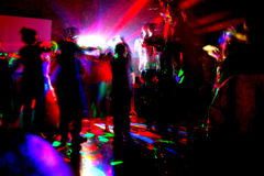 Night party. Party light dancefloor wedding spots redlights Stock Image