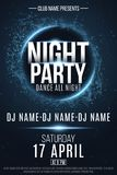 Night Party poster. Festive geometric neon flyer. Banner from geometrical plexus particles. Name of club and DJ. Vector illustrati. On. EPS 10 Royalty Free Stock Image